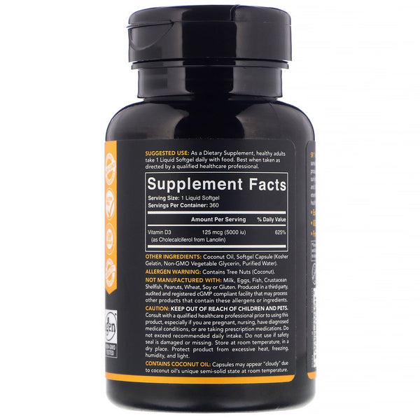 Sports Research, Vitamin D3 with Coconut Oil, 125 mcg (5,000 IU), 360 Softgels - The Supplement Shop
