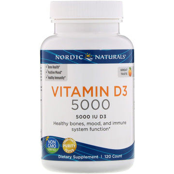 Nordic Naturals, Vitamin D3 5000, Orange, 5,000 IU, 120 Soft Gels