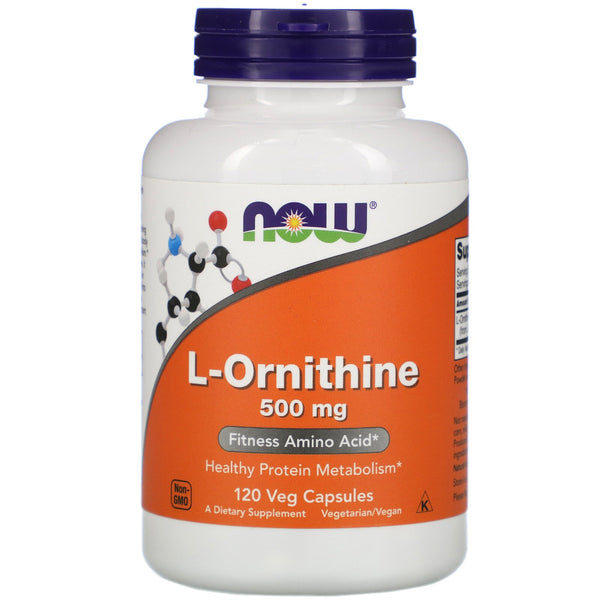 Now Foods, L-Ornithine, 500 mg, 120 Veg Capsules - The Supplement Shop