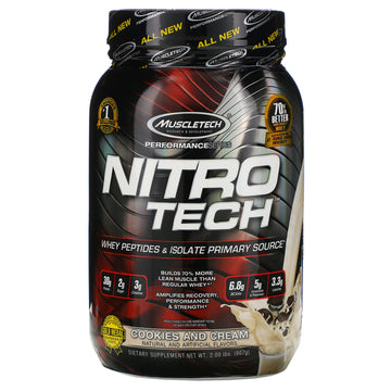 Muscletech, Nitro Tech, Whey Isolate + Lean Muscle Builder, Cookies and Cream, 2.00 lbs (907 g)