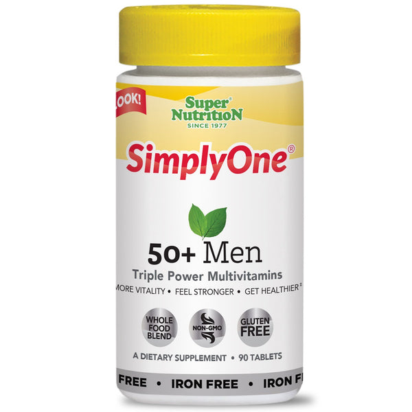 Super Nutrition, SimplyOne, 50+ Men Triple Power Multivitamins, Iron-Free, 90 Tablets - The Supplement Shop