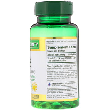 Nature's Bounty, D3, 250 mcg (10,000 IU), 72 Rapid Release Softgels