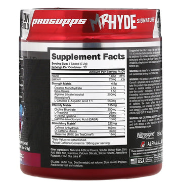 ProSupps, Mr. Hyde, Signature Pre Workout, Blue Razz Popsicle, 7.6 oz (216 g)