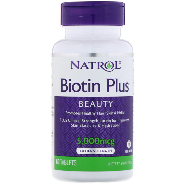 Natrol, Biotin Plus, Extra Strength, 5,000 mcg, 60 Tablets