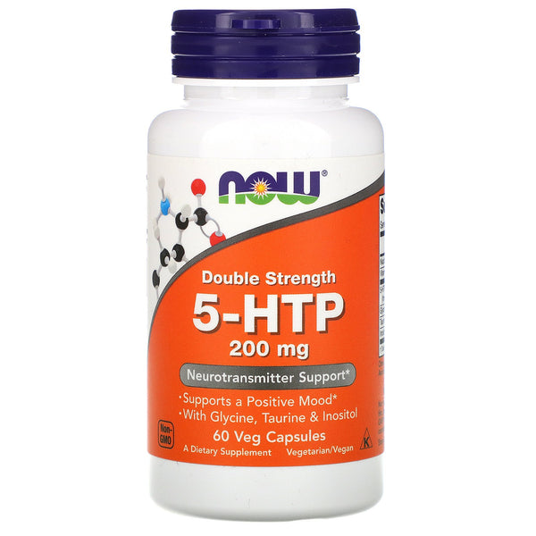 Now Foods, 5-HTP, Double Strength, 200 mg, 60 Veg Capsules