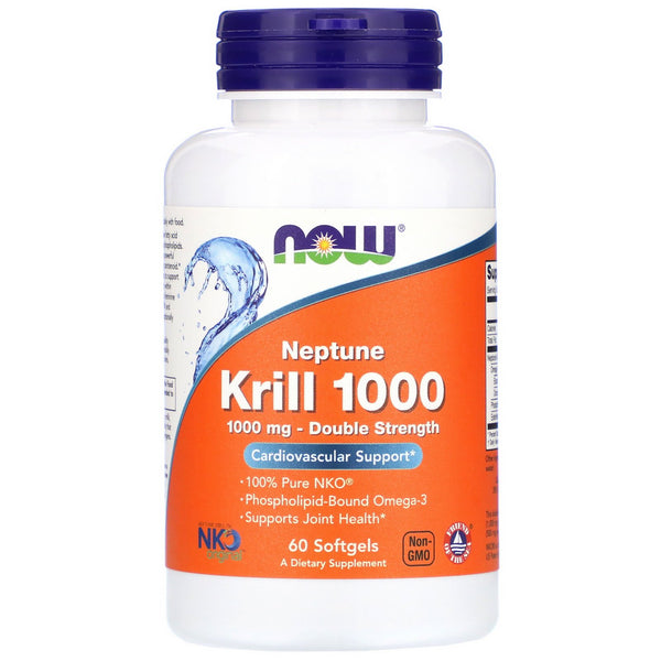 Now Foods, Neptune Krill 1000, Double Strength, 1,000 mg, 60 Softgels