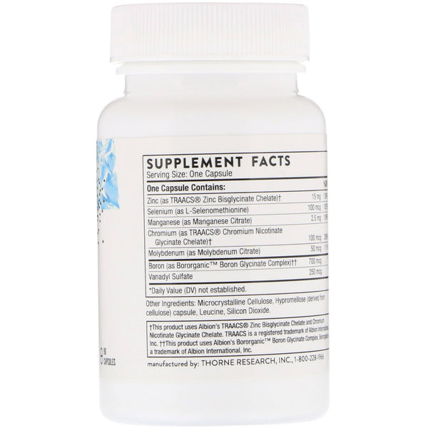 Thorne Research, Trace Minerals, 90 Capsules - The Supplement Shop