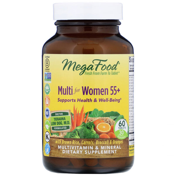 MegaFood, Multi for Women 55+, 60 Tablets