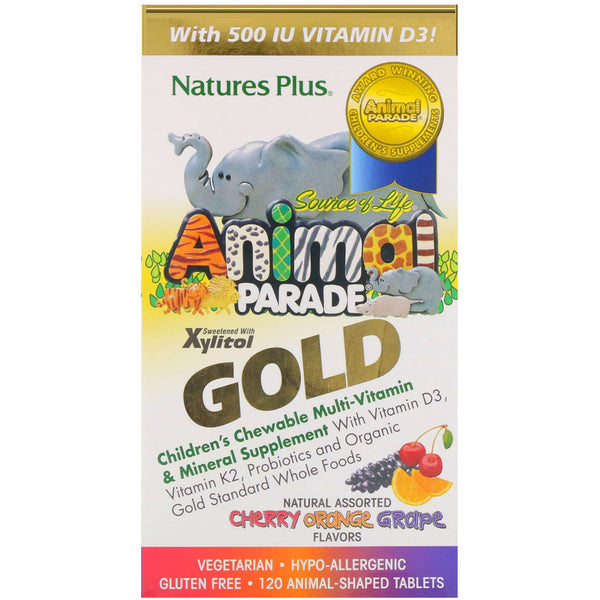 Nature's Plus, Source of Life, Animal Parade Gold, Children's Chewable Multi-Vitamin & Mineral Supplement, Natural Assorted Flavors, 120 Animal-Shaped Tablets