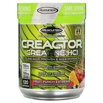 Muscletech, Creactor, Creatine HCl Formula, Fruit Punch Extreme, 9.51 oz (269 g)