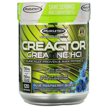 Muscletech, Creactor, Creatine HCI, Blue Raspberry Blast, 9.31 oz (264 g)