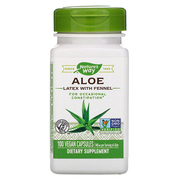 Nature's Way, Aloe Latex with Fennel, 140 mg, 100 Vegan Capsules