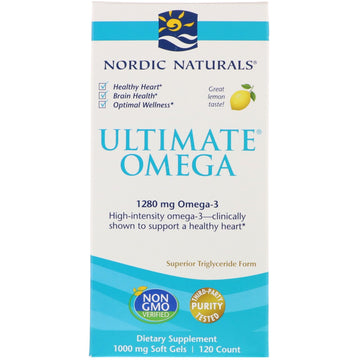 Nordic Naturals, Ultimate Omega, Lemon, 1,280 mg, 120 Soft Gels