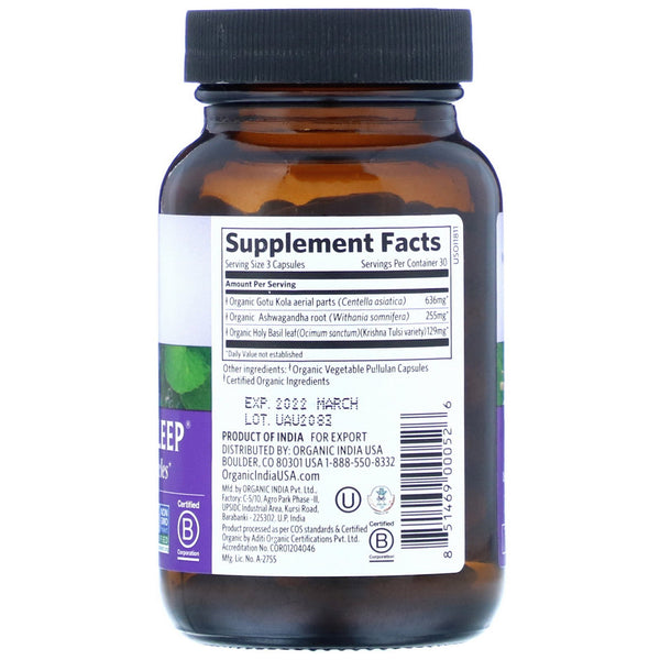 Organic India, Peaceful Sleep, 90 Vegetarian Caps - The Supplement Shop