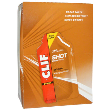 Clif Bar, Clif Shot Energy Gel, Mocha, +50 mg Caffeine, 24 Packets, 1.20 oz (34 g) Each
