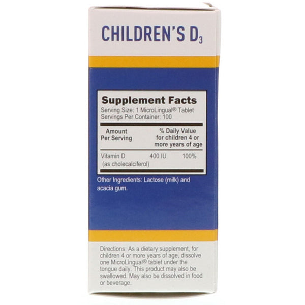Superior Source, Children's D3, 400 IU, 100 MicroLingual Instant Dissolve Tablets - The Supplement Shop