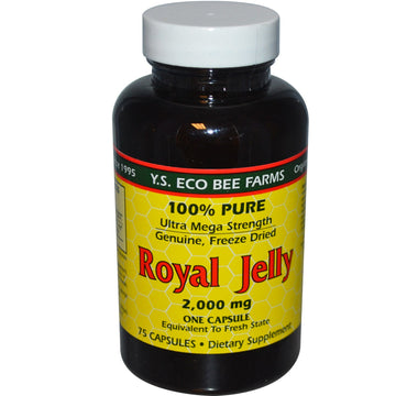 Y.S. Eco Bee Farms, Royal Jelly, 100% Pure, 2,000 mg, 75 Capsules