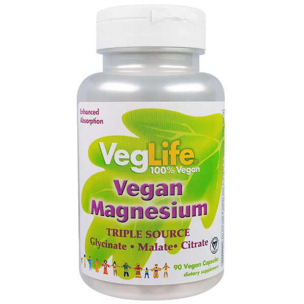 VegLife, Vegan Magnesium, Triple Source, 90 Vegan Caps