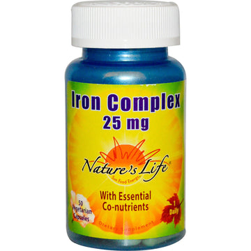 Nature's Life, Iron Complex, 25 mg, 50 Vegetarian Capsules