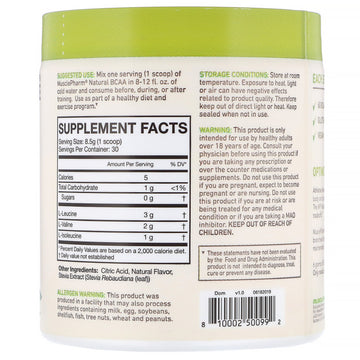 MusclePharm, Natural BCAA, Lemonade, 0.56 lbs (255 g)