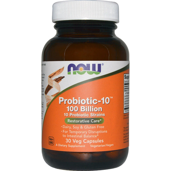 Now Foods, Probiotic-10, Restorative Care, 100 Billion, 30 Veg Capsules - The Supplement Shop
