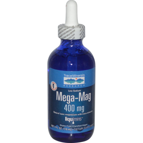 Trace Minerals Research, Mega-Mag, Natural Ionic Magnesium with Trace Minerals, 400 mg, 4 fl oz (118 ml) - The Supplement Shop