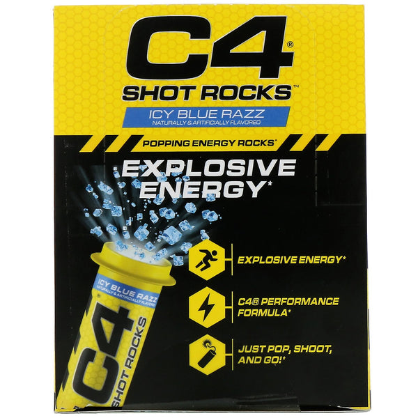 Cellucor, C4 Shot Rocks, Icy Blue Razz, 12 Vials, 0.5 oz Each