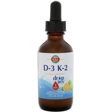 KAL, Vitamin D-3 K-2 Drop Ins, Natural Citrus Flavor, 2 fl oz (59 ml)