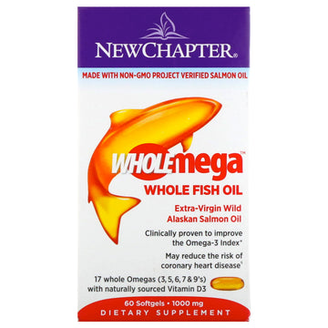New Chapter, Wholemega, Extra-Virgin Wild Alaskan Salmon, Whole Fish Oil, 1,000 mg, 60 Softgels