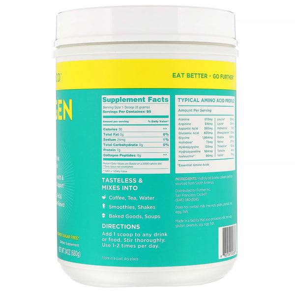 Further Food, Collagen Peptides, Pure Protein Powder, Unflavored, 24 oz (680 g) - The Supplement Shop