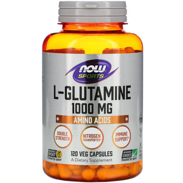 Now Foods, L-Glutamine, Double Strength, 1,000 mg, 120 Veg Capsules
