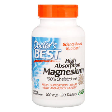 Doctor's Best, High Absorption Magnesium 100% Chelated with Albion Minerals, 100 mg, 120 Tablets