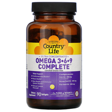 Country Life, Ultra Concentrated Omega 3-6-9 Complete. Natural Lemon, 90 Softgels