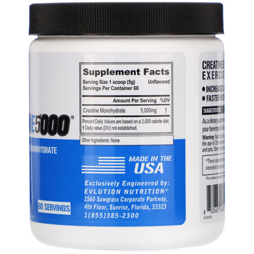 EVLution Nutrition, Creatine5000, Unflavored, 10.58 oz (300 g)