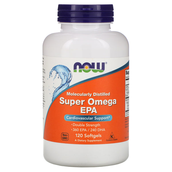 Now Foods, Super Omega EPA, Molecularly Distilled, 120 Softgels - The Supplement Shop