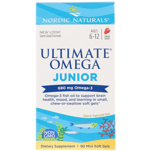 Nordic Naturals, Ultimate Omega Junior, Strawberry, 680 mg, 90 Mini Soft Gels