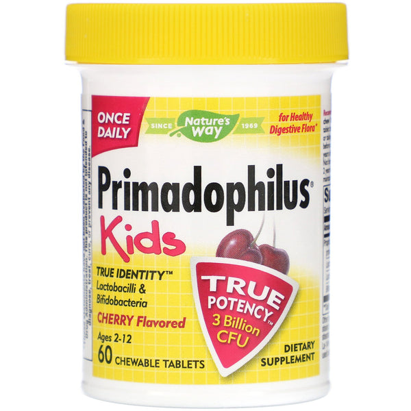 Nature's Way, Primadophilus Kids, Cherry Flavored, 60 Chewable Tablets