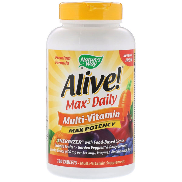 Nature's Way, Alive! Max3 Daily, Multi-Vitamin, No Added Iron, 180 Tablets