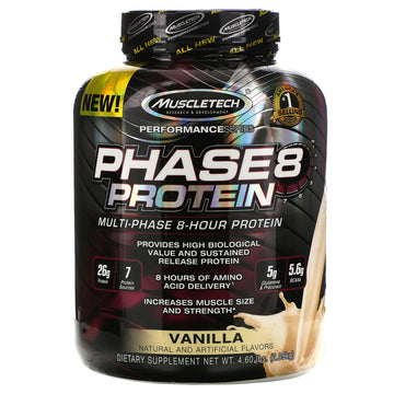 Muscletech, Performance Series, Phase8, Multi-Phase 8-Hour Protein, Vanilla, 4.60 lbs (2.09 kg)