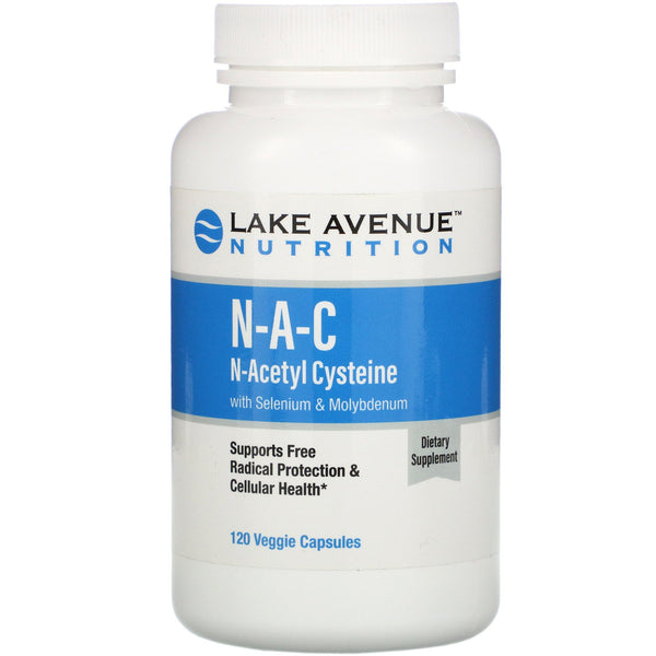 Lake Avenue Nutrition, N-A-C, N-Acetyl Cysteine with Selenium & Molybdenum, 600 mg, 120 Veggie Capsules - The Supplement Shop
