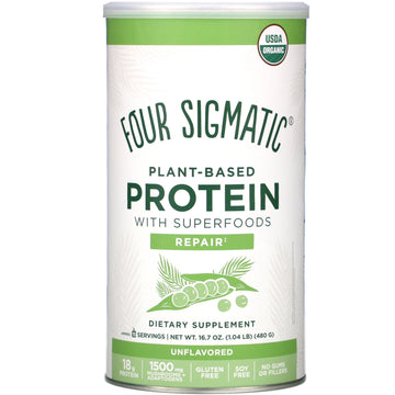 Four Sigmatic, Plant-Based Protein with Superfoods, Unflavored, 16.7 oz (480 g)