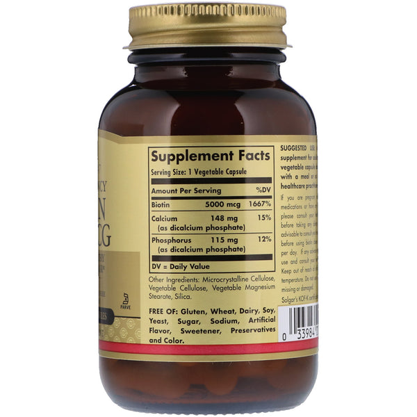 Solgar, Biotin, 5,000 mcg, 50 Vegetable Capsules - The Supplement Shop