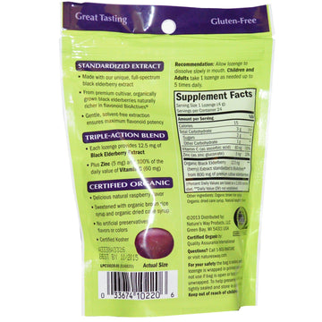 Nature's Way, Organic Sambucus, Zinc Lozenges, Delicious Berry, 24 Lozenges