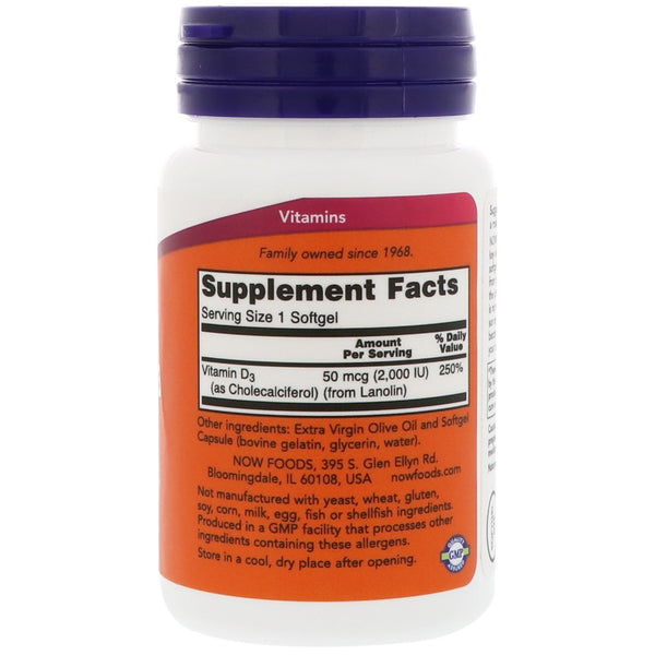 Now Foods, Vitamin D-3, High Potency, 2,000 IU, 30 Softgels