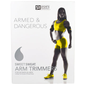 Sports Research, Sweet Sweat Arm Trimmers, Unisex-Regular, Yellow, 1 Pair