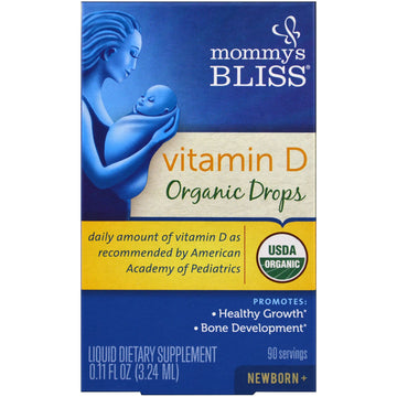 Mommy's Bliss, Vitamin D, Organic Drops, Newborn +, 0.11 fl oz (3.24 ml)