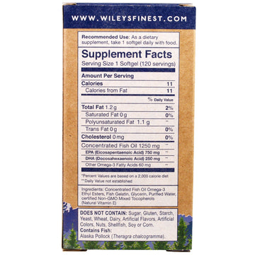 Wiley's Finest, Wild Alaskan Fish Oil, Peak EPA, 1,250 mg, 120 Fish Softgels