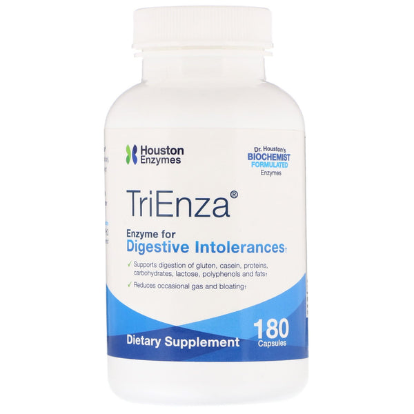 Houston Enzymes, TriEnza, Enzyme For Digestive Intolerances, 180 Capsules
