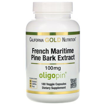 California Gold Nutrition, French Maritime Pine Park Extract, Oligopin, Antioxidant Polyphenol, 100 mg, 180 Veggie Capsules