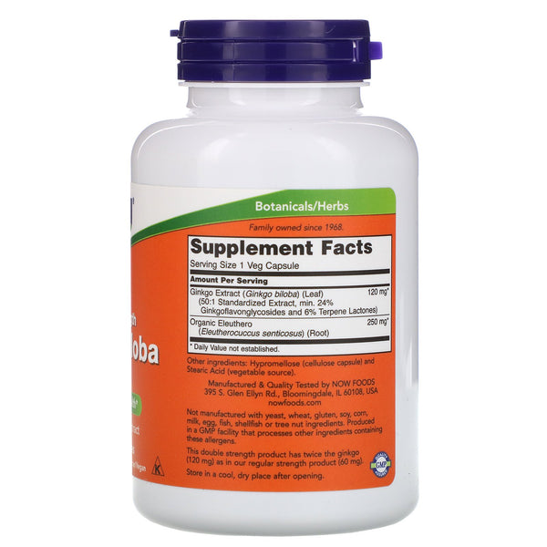 Now Foods, Ginkgo Biloba, Double Strength, 120 mg, 200 Veg Capsules